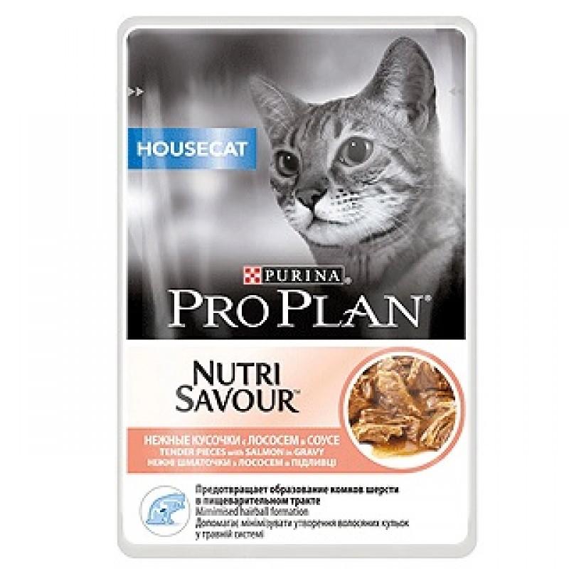 Влажный корм для кошек Purina Pro Plan NutriSavour Housecat Feline with Salmon pouch в соусе 0,085 кг