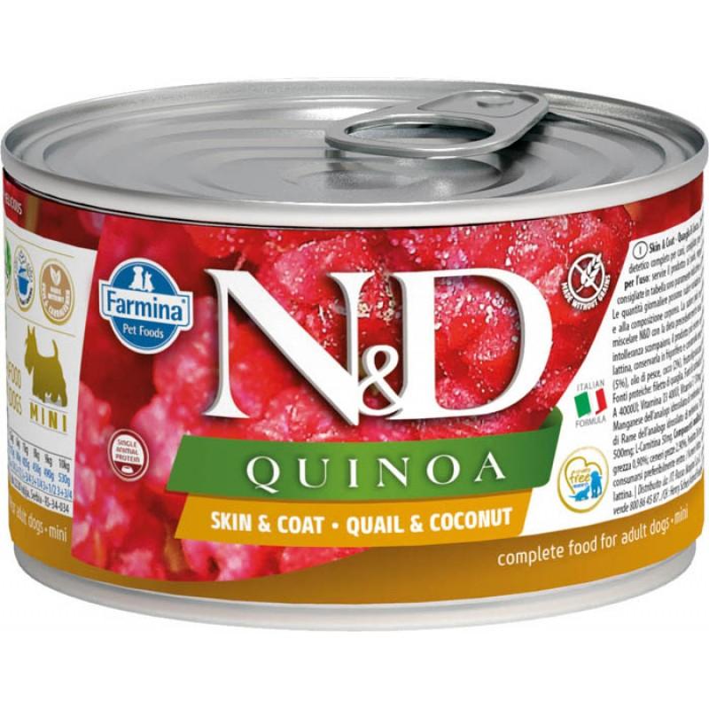 Влажный корм для собак Farmina N & D Quinoa Quail & Coconut Mini Перепелка с киноа и кокосом для маленьких пород 0,14 кг