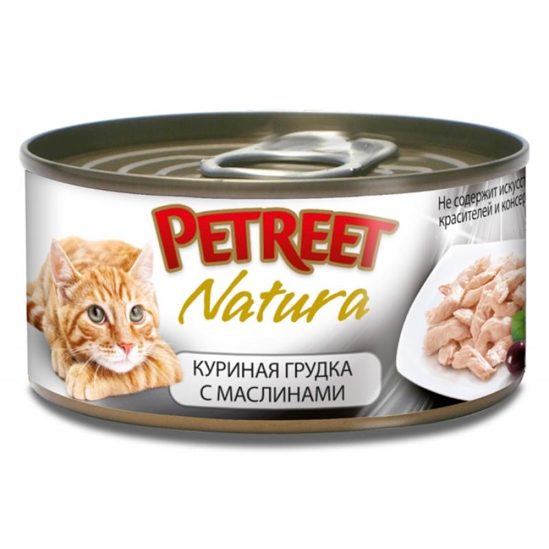 Влажный корм для кошек Petreet Куриная грудка с оливками 0,07 кг