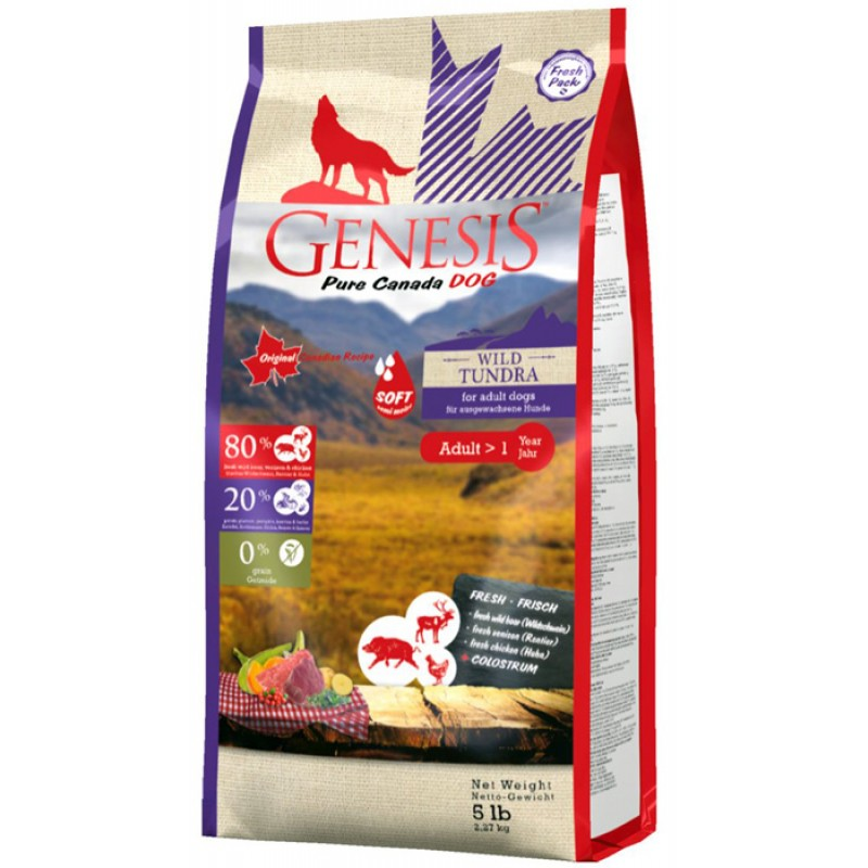 Полувлажный корм для собак Genesis Pure Canada Wild Taiga Soft с мясом дикого кабана, северного оленя и курицы 2,268 кг