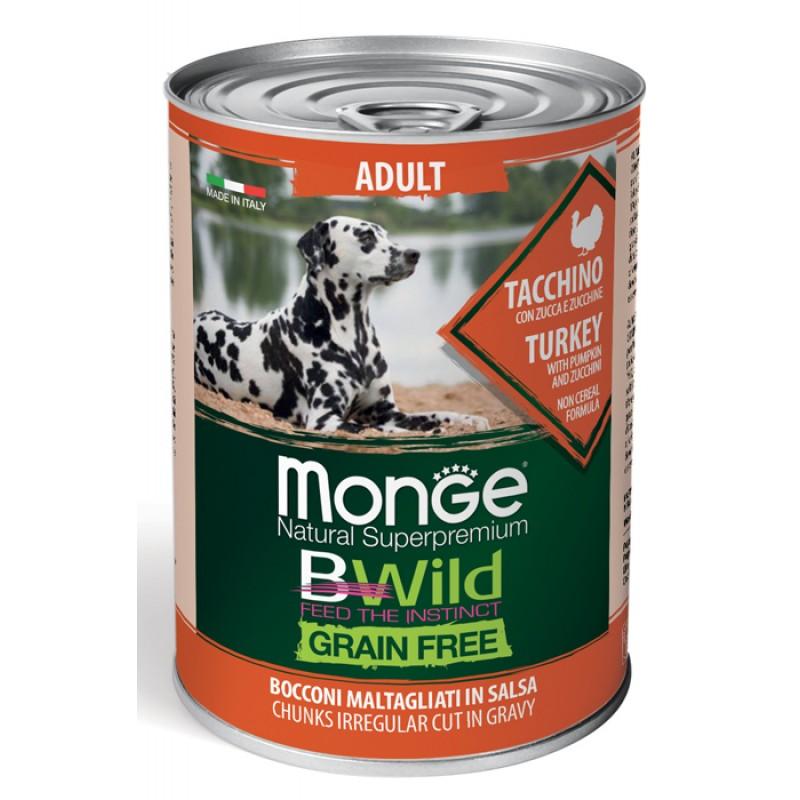 Влажный корм для собак Monge BWild Grainfree Adult из индейки с тыквой и кабачками 0,4 кг