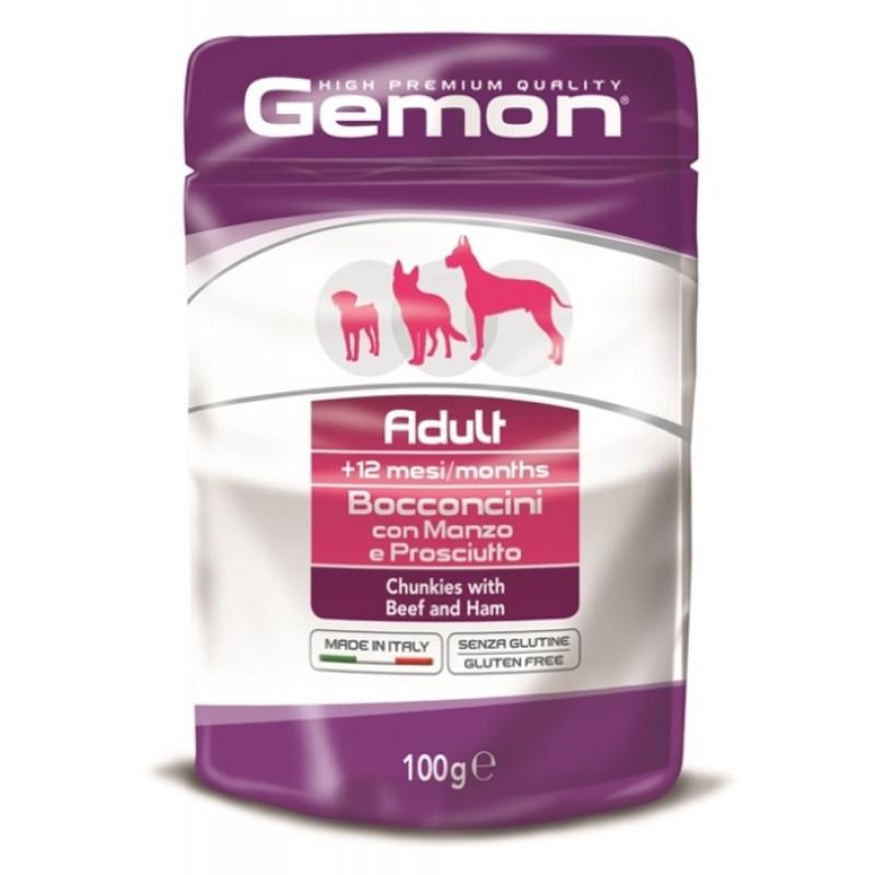 Влажный корм для собак Gemon Dog Pouch кусочки говядины с ветчиной пауч 0,1 кг