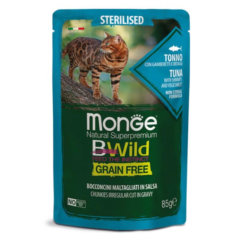 Влажный корм для кошек Monge Bwild Grain free из тунца с креветками и овощами для стерилизованных пауч 0,085 кг