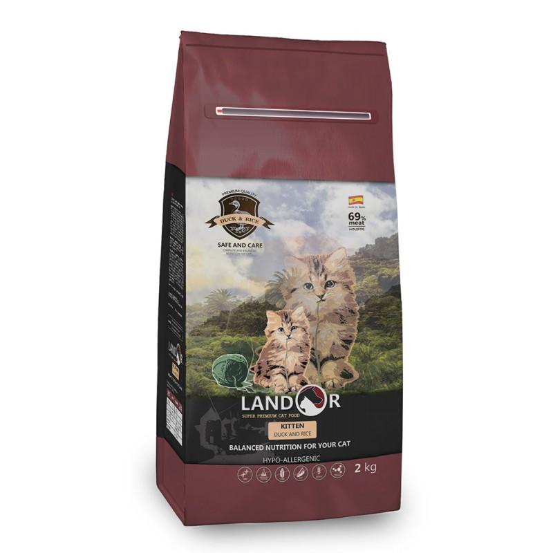 Сухой корм для котят Landor Утка с рисом полнорационный 2 кг