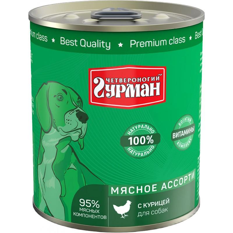 Влажный корм для собак Четвероногий Гурман Мясное ассорти с курицей 0,34 кг