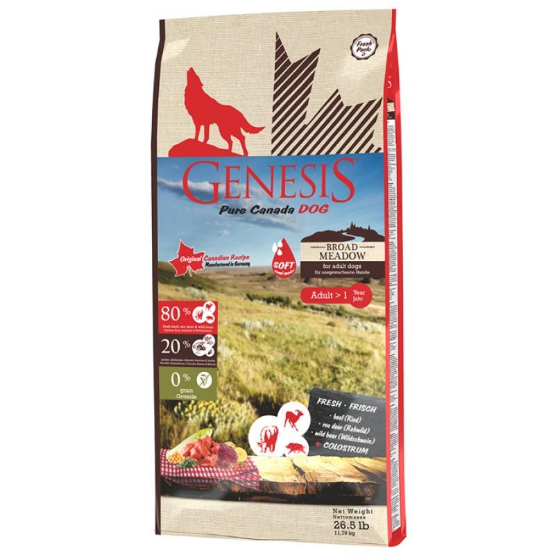 Сухой корм для собак Genesis Pure Canada Broad Meadow  Adult с говядиной, мясом косули и дикого кабана 11,79 кг