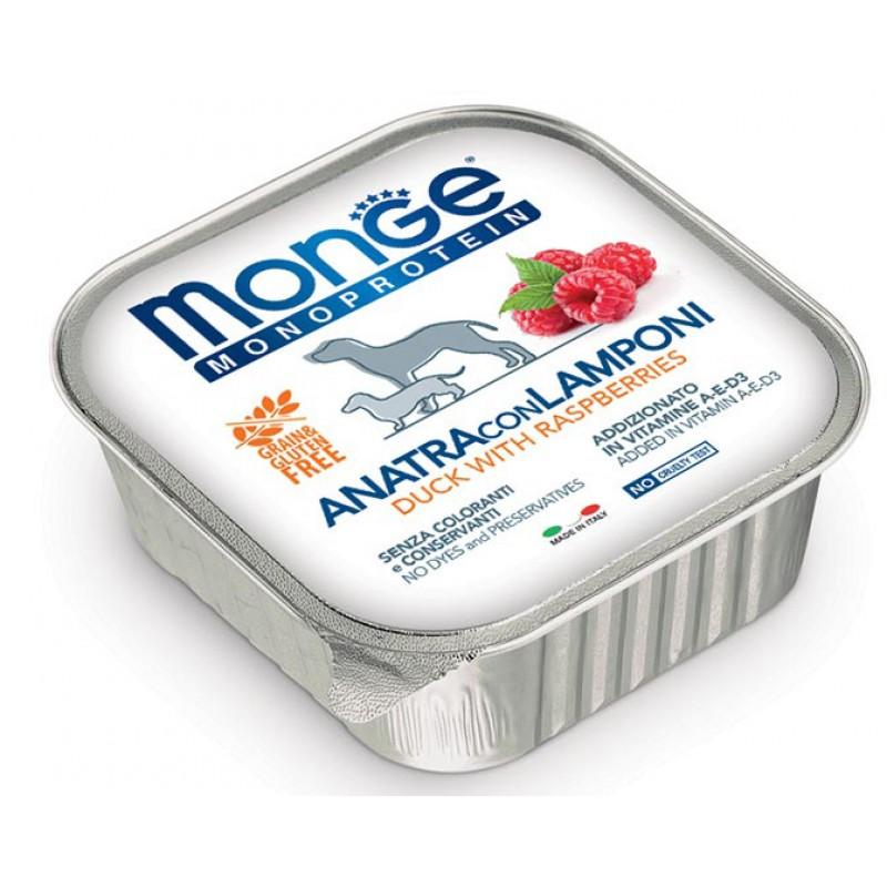 Влажный корм для собак Monge Monoprotein Fruits паштет из утки с малиной 0,15 кг