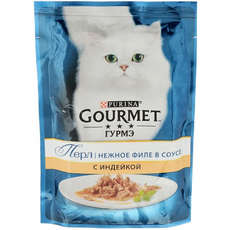 Влажный корм для кошек Gourmet Perle пауч кусочки в подливе с индейкой 0,085 кг