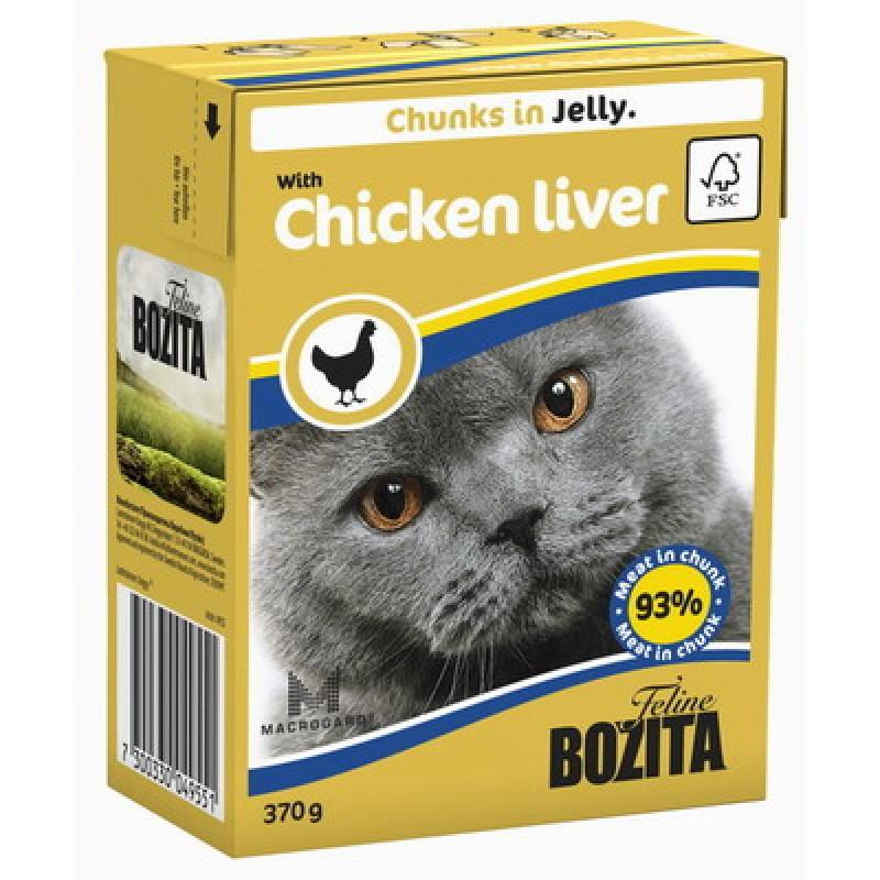 Влажный корм для кошек Bozita Feline Chicken liver кусочки в желе 0,37 кг