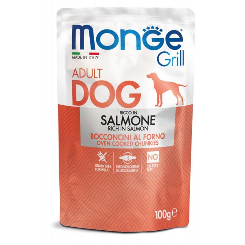 Влажный корм для собак Monge Dog Grill Pouch с лососем  пауч 0,1 кг