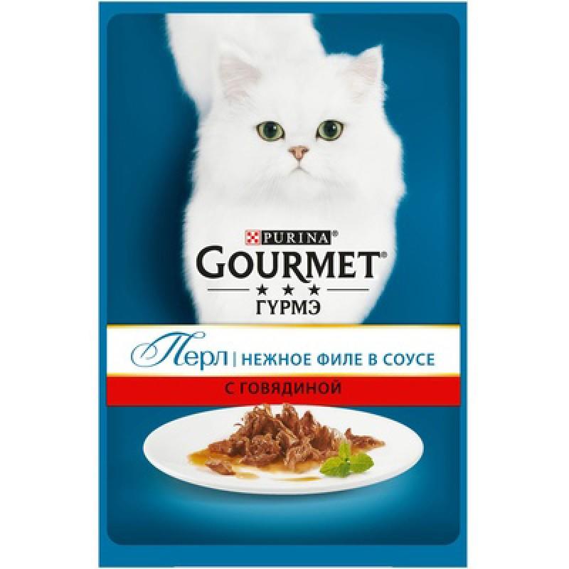 Влажный корм для кошек Gourmet Perle пауч кусочки в подливе с говядиной 0,085 кг