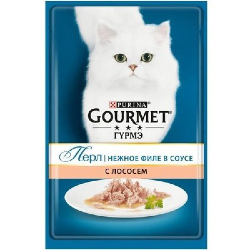 Влажный корм для кошек Gourmet Perle пауч кусочки в подливе с лососем 0,085 кг