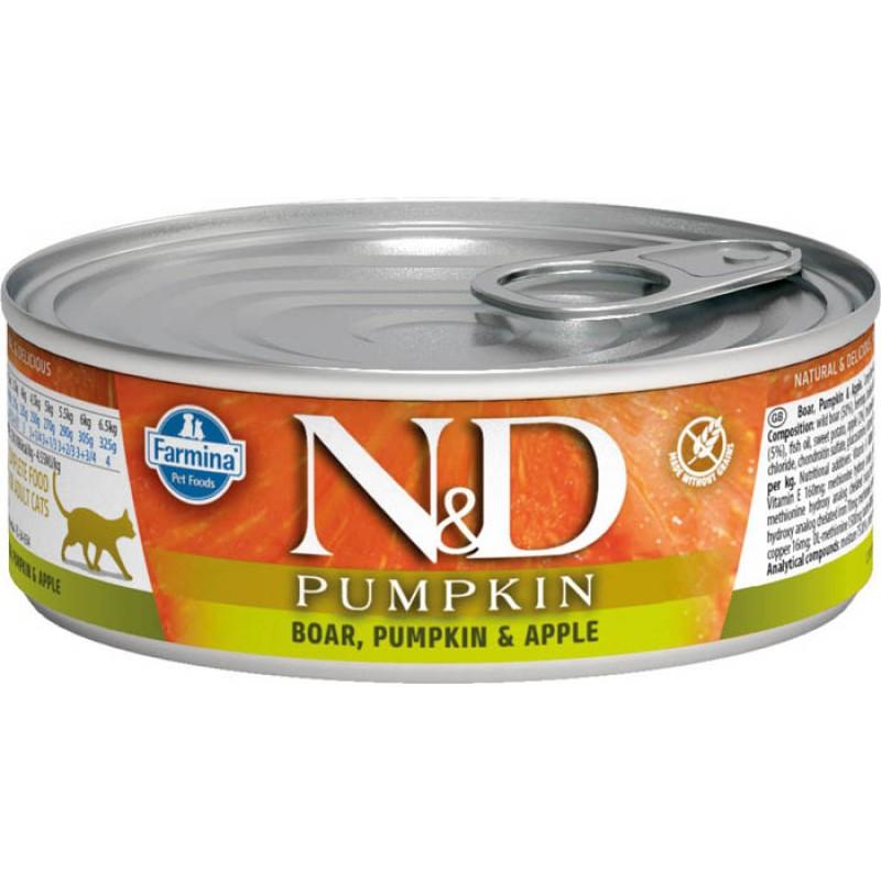 Влажный корм для кошек Farmina N & D Boar, Pumpkin & Apple с кабаном, яблоком и тыквой 0,08 кг