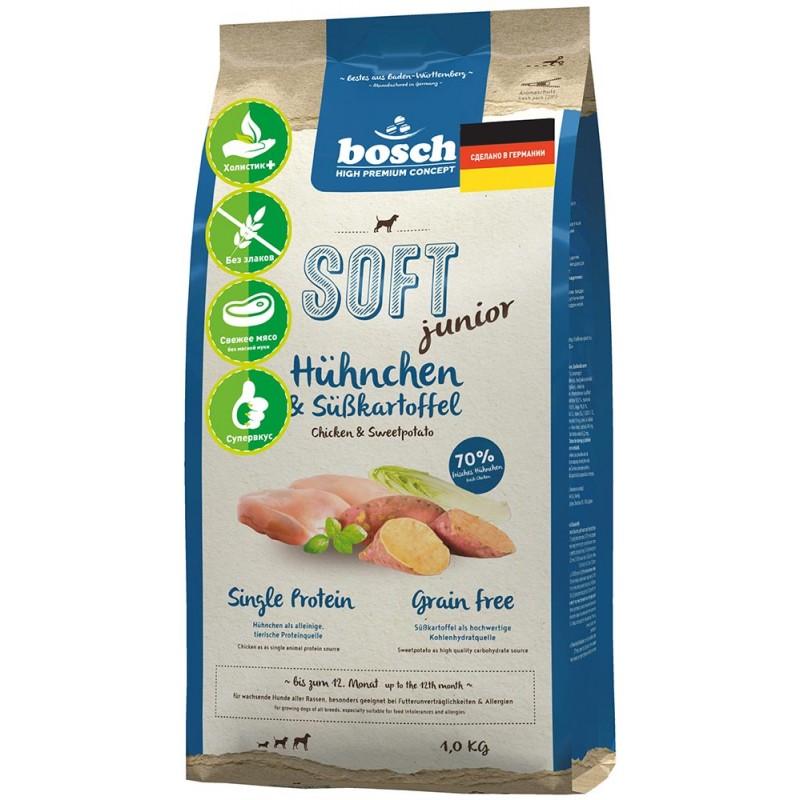 Полувлажный корм для собак Bosch Soft Junior с курицей и бататом 12,5 кг