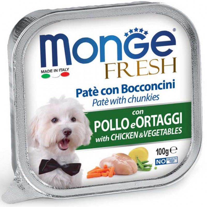 Влажный корм для собак Monge Fresh курица с овощами 0,1 кг