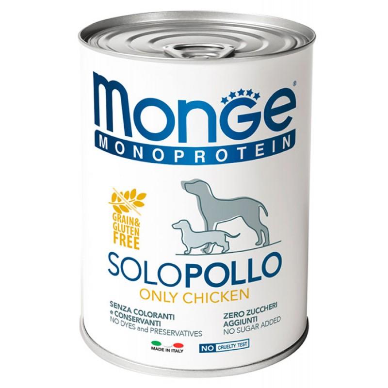 Влажный корм для собак Monge Monoproteico Solo паштет из курицы 0,4 кг