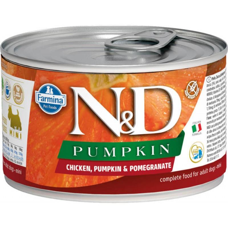 Влажный корм для собак Farmina N & D Chicken, Pumpkin & Pomegranate Mini с курицей, гранатом и тыквой для маленьких пород 0,14 кг