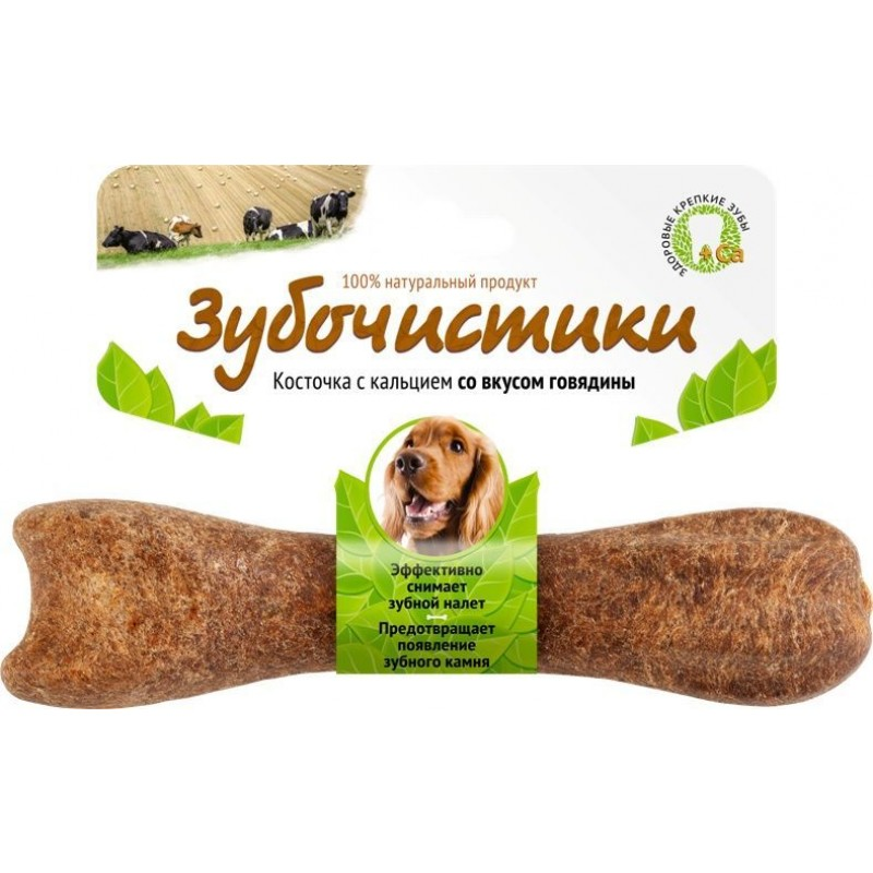 Лакомство для собак средних пород Зубочистики Косточка со вкусом говядины 0,095 кг