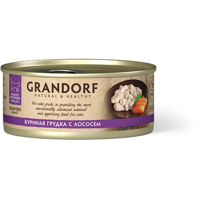 Влажный корм для кошек Grandorf Куриная грудка с лососем 0,07 кг
