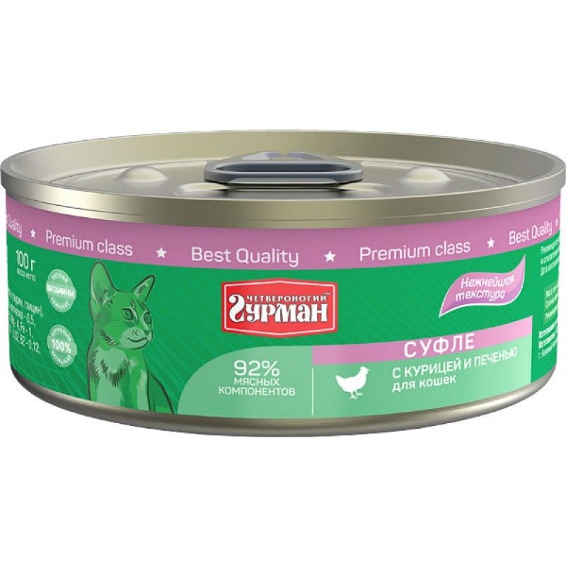 Влажный корм для кошек Четвероногий Гурман Суфле с курицей и печенью 0,1 кг