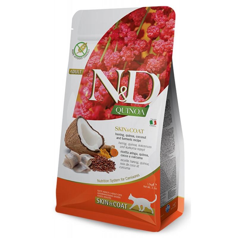 Сухой корм для кошек Farmina N&D Quinoa Skin & Coat беззерновой с сельдью и киноа 1,5 кг