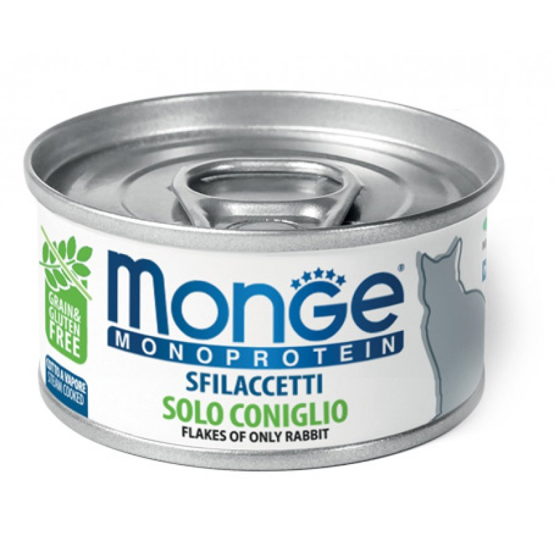 Влажный корм для кошек Monge Cat Monoprotein хлопья из кролика 0,08 кг