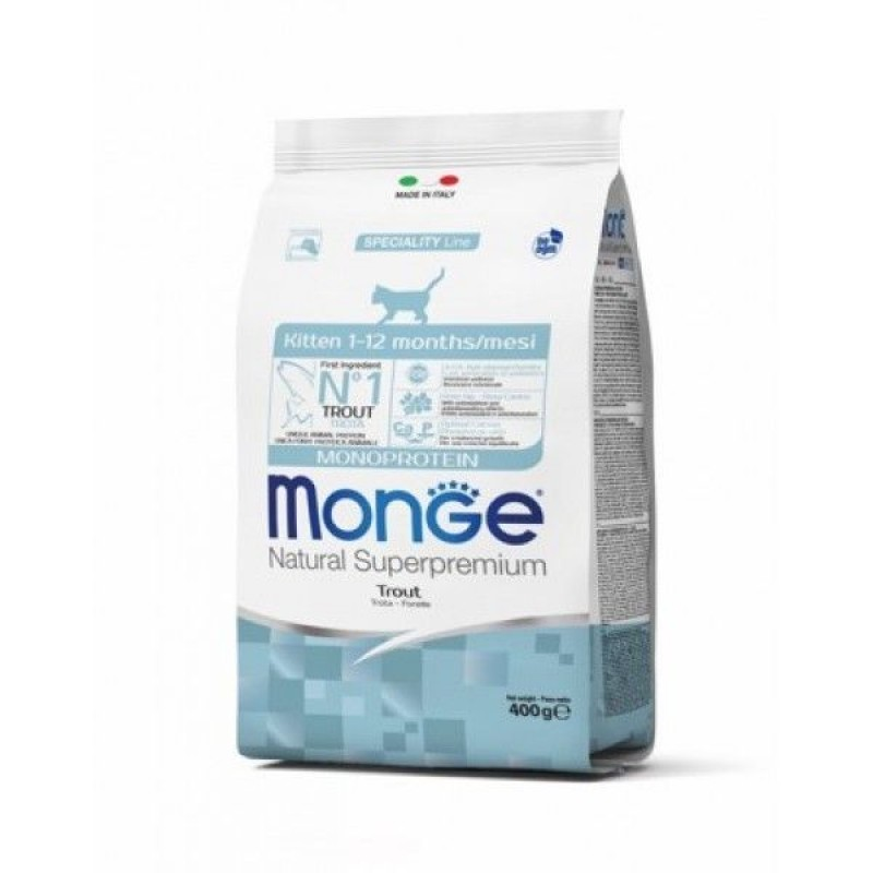 Сухой корм для котят Monge Cat Monoprotein с форелью 0,4 кг