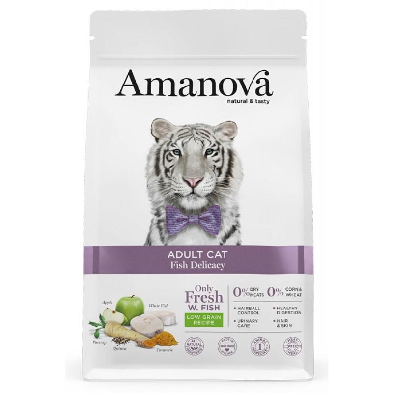 Сухой корм для кошек Amanova Adult с лакомой белой рыбкой 1,5 кг