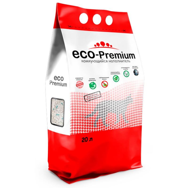 Наполнитель ECO Premium GREEN комкующийся древесный сосна 7,6кг 20 л