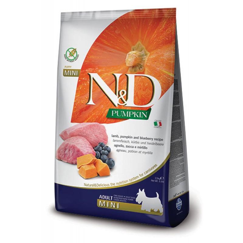 Сухой корм для собак Farmina N&D Pumpkin Adult Mini беззерновой с ягненком, черникой и тыквой 7 кг