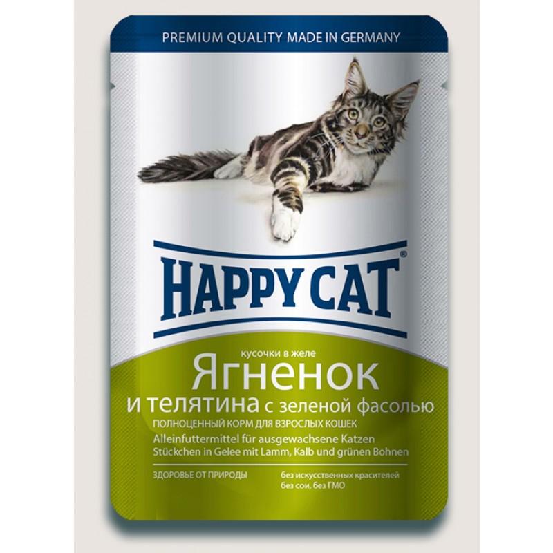 Влажный корм для кошек Happy Cat нежные кусочки в желе пауч, ягненок и телятина 0,1 кг