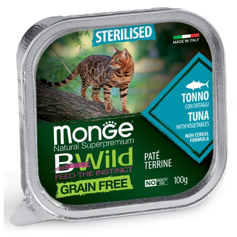 Влажный корм для кошек Monge Bwild Grain free из тунца с овощами для стерилизованных 0,1 кг