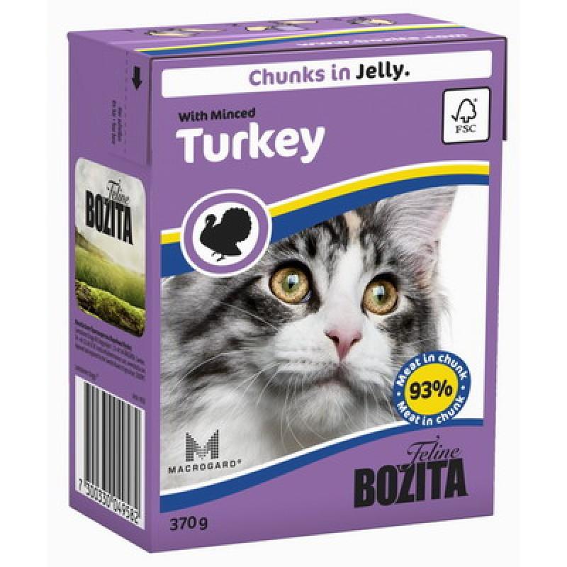 Влажный корм для кошек Bozita Feline Minced Turkey кусочки в желе 0,37 кг