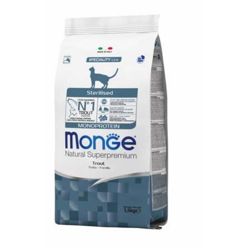 Сухой корм для кошек Monge Cat Monoprotein Sterilised Trout для стерилизованных с форелью 1,5 кг