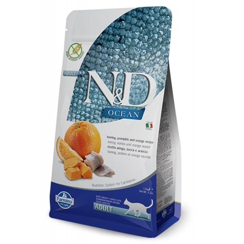 Сухой корм для кошек Farmina N&D Ocean Adult беззерновой с сельдью, тыквой и апельсином 1,5 кг