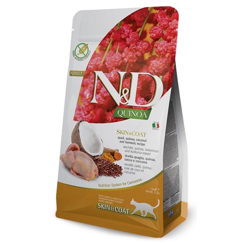 Сухой корм для кошек Farmina N&D Quinoa Skin & Coat беззерновой с перепелом и киноа 1,5 кг