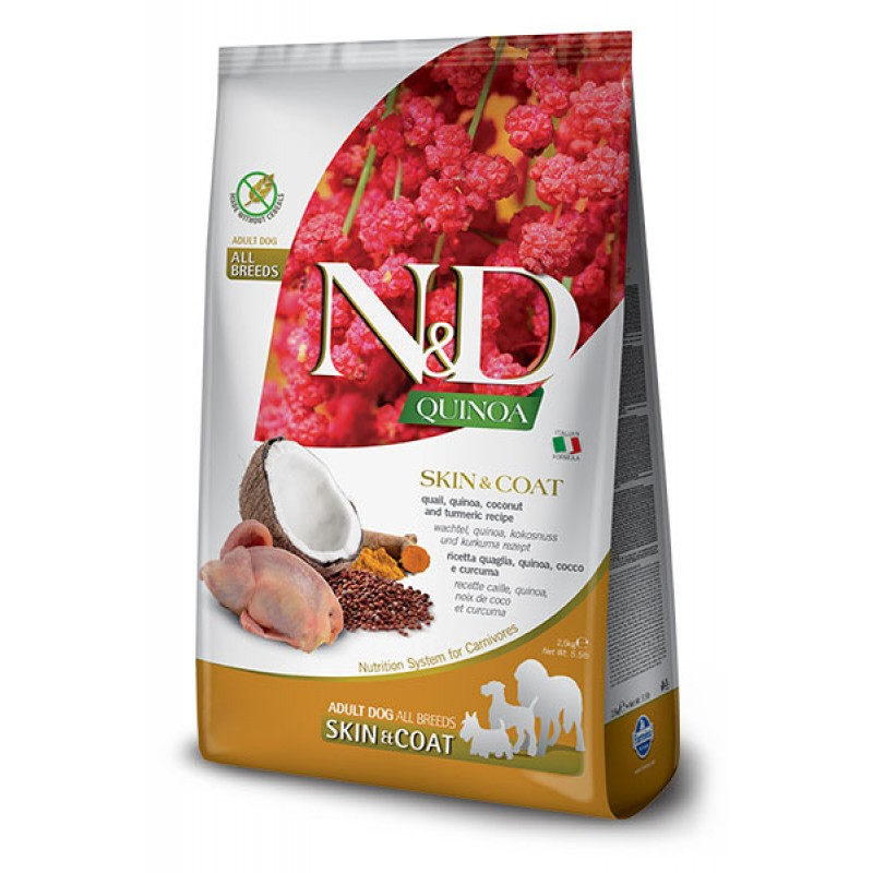 Сухой корм для собак Farmina N&D Quinoa Skin & Coat беззерновой с перепелом и киноа 2,5 кг