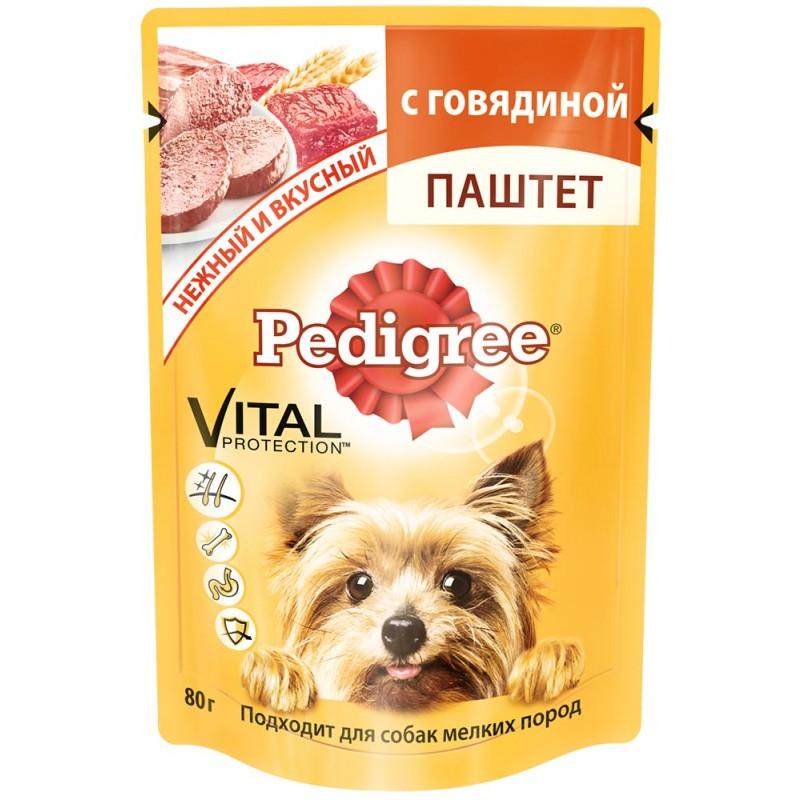Влажный корм для собак Pedigree Паштет с говядиной для мелких пород 24шт 0,08 кг