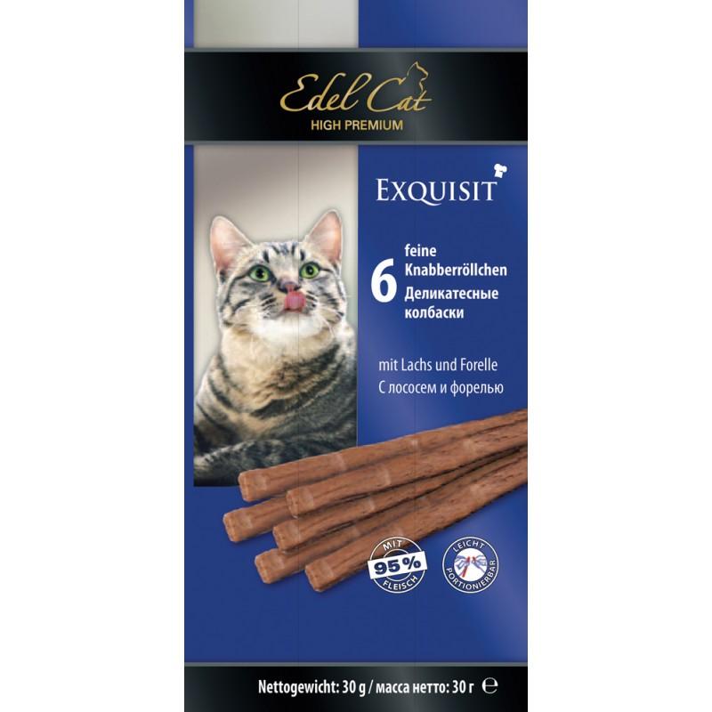 Лакомство для кошек Edel Cat с лососем и форелью жевательные колбаски 0,04 кг