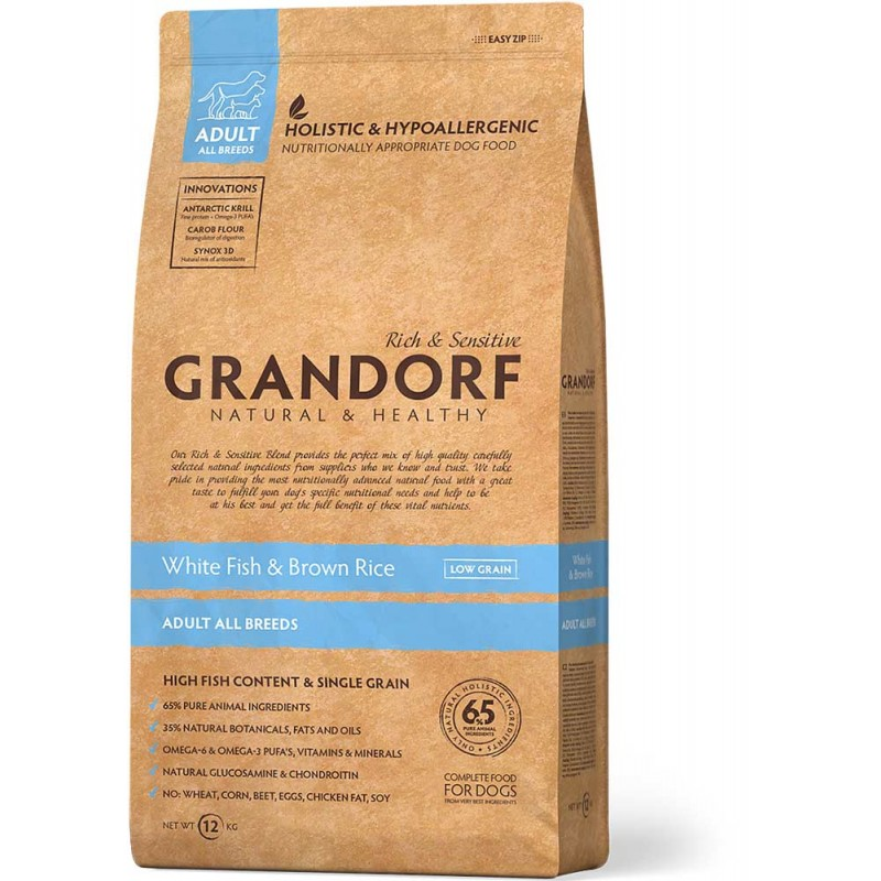 Сухой корм для собак Grandorf White Fish&Rice 12 кг