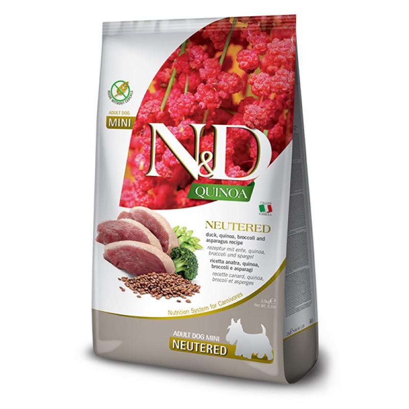 Сухой корм для собак Farmina N&D Quinoa Neuteredt Mini беззерновой с уткой, брокколи и спаржей  7 кг