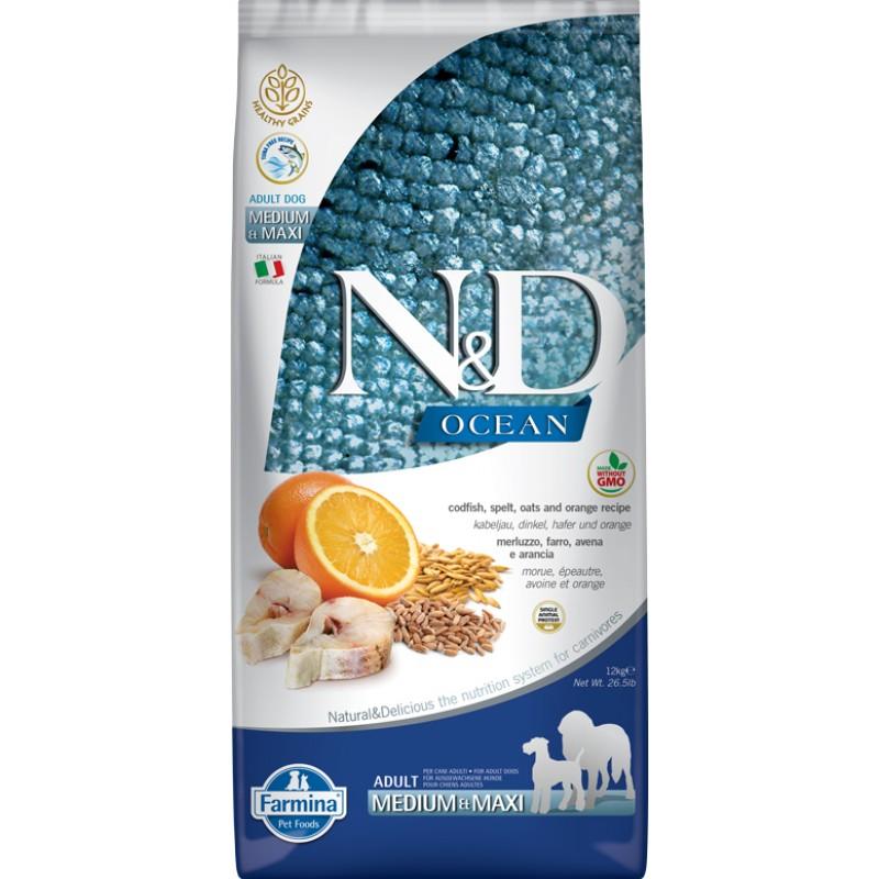 Сухой корм для собак Farmina N&D Ocean Adult Medium & Maxi низкозерновой с треской и апельсином 12 кг
