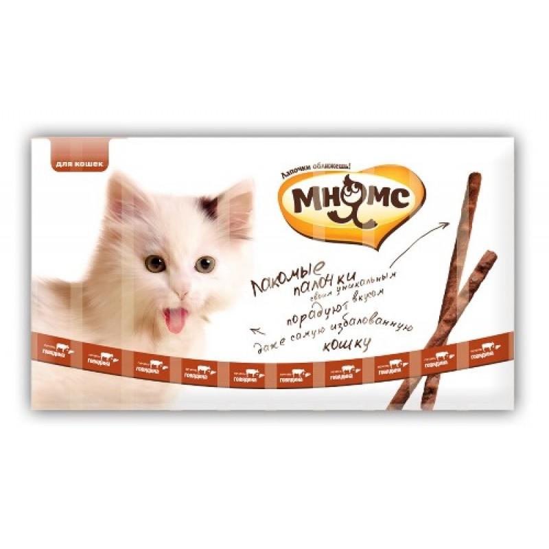 Лакомство для кошек Мнямс Лакомые палочки с говядиной и печенью 13.5 см 0,25 кг