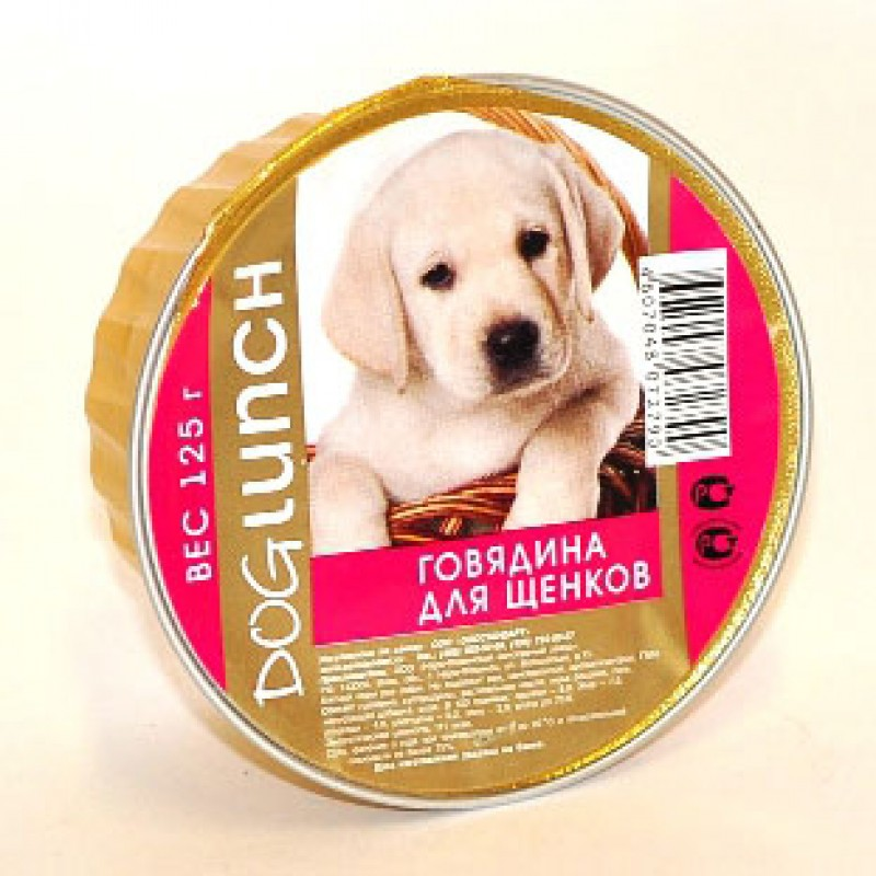Влажный корм для щенков Dog Lunch Крем-суфле с говядиной 0,125 кг