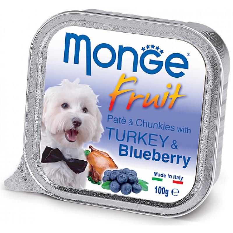 Влажный корм для собак Monge Fruit индейка с черникой 0,1 кг