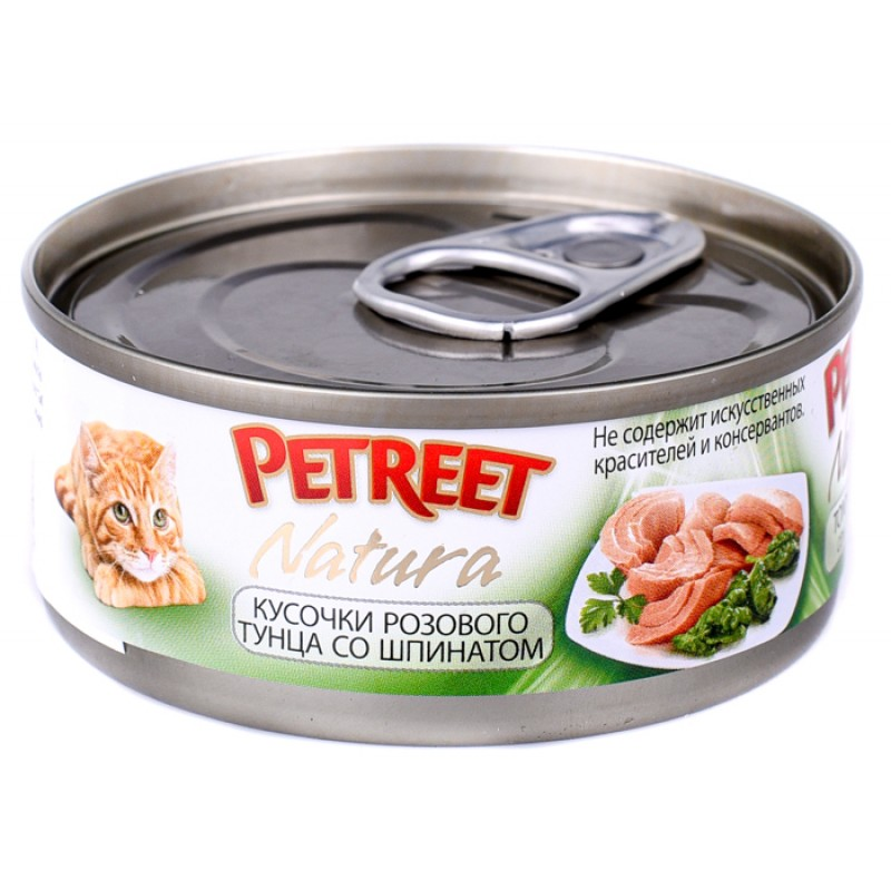 Влажный корм для кошек Petreet Кусочки розового тунца со шпинатом 0,07 кг