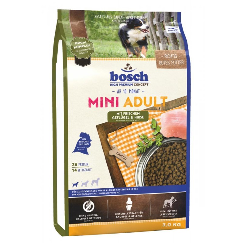 Сухой корм для собак Bosch Mini Adult с птицей и просом 3 кг