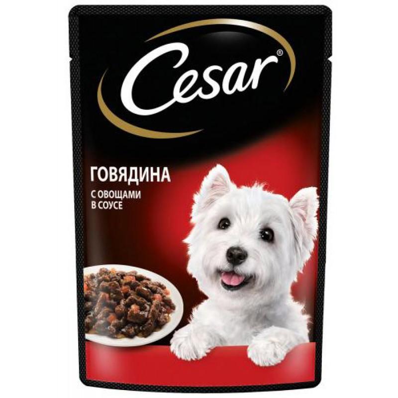 Влажный корм для собак Cesar говядина с овощами пауч 24шт 0,1 кг