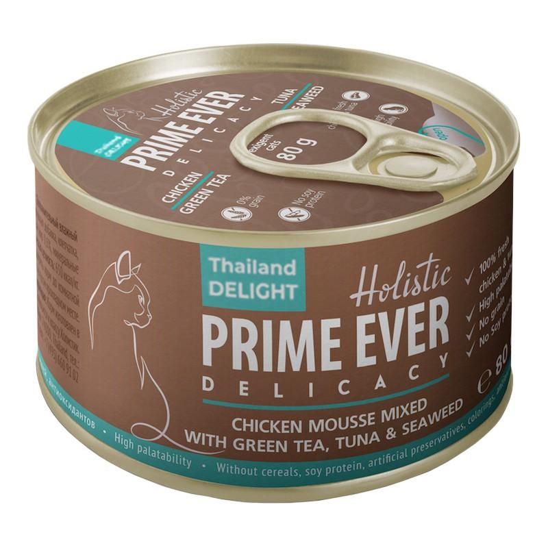 Влажный корм для кошек Prime Ever Delicacy Мусс цыпленок с тунцом с зеленым чаем и водорослями 0,08 кг