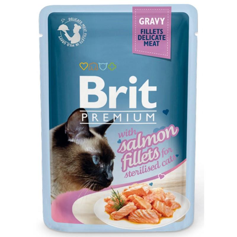 Влажный корм для кошек Brit Gravy Salmon Filletsfor Sterilised 0,085 кг